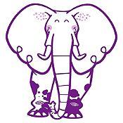 Vinilo Elefante del Zoológico Morado, Lila Medida P