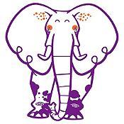 Vinilo Elefante del Zoológico Morado, Naranja Medida P