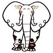 Vinilo Elefante del Zoológico Negro, Naranja Medida M