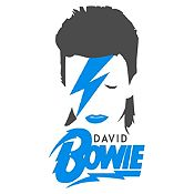 Vinilo David Bowie Gris Oscuro, Azul Claro Medida M