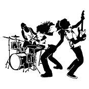 Vinilo Banda de Rock Negro Medida P