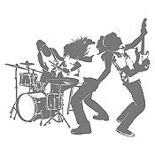 Vinilo Banda de Rock Gris Oscuro Medida P
