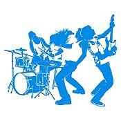 Vinilo Banda de Rock Azul Claro Medida M