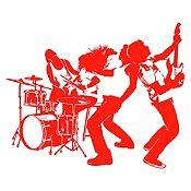 Vinilo Banda de Rock Rojo Medida P