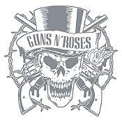 Vinilo Calavera Guns N Roses Plata Medida G
