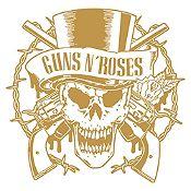 Vinilo Calavera Guns N Roses Dorado Medida G