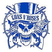 Vinilo Calavera Guns N Roses Azul Medio Medida P
