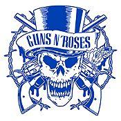 Vinilo Calavera Guns N Roses Azul Medio Medida M