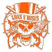 Vinilo Calavera Guns N Roses Naranja Medida P