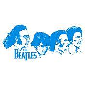 Vinilo Beatles Rostros Azul Claro Medida P