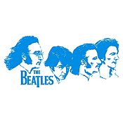 Vinilo Beatles Rostros Azul Claro Medida G