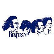 Vinilo Beatles Rostros Azul Oscuro Medida G