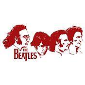 Vinilo Beatles Rostros Vinotinto Medida G
