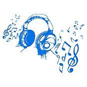 Vinilo Audífonos Azul Medio Medida G