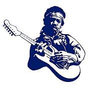 Vinilo Jimy Hendrix Azul Oscuro Medida P