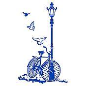 Vinilo Bcicleta Y Farol Azul Medio Medida M