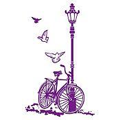 Vinilo Bcicleta Y Farol Morado Medida P