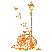 Vinilo Bcicleta Y Farol Naranja Medida M