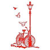 Vinilo Bcicleta Y Farol Rojo Medida M