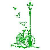 Vinilo Bcicleta Y Farol Verde Claro Medida G