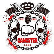 Vinilo Gangster Negro, Rojo Medida P
