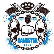 Vinilo Gangster Negro, Azul Claro Medida G