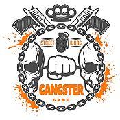 Vinilo Gangster Gris Oscuro, Naranja Medida M