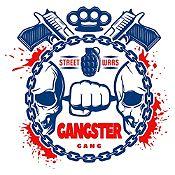Vinilo Gangster Azul Oscuro, Rojo Medida G