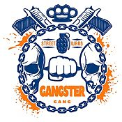 Vinilo Gangster Azul Oscuro, Naranja Medida M
