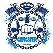 Vinilo Gangster Azul Oscuro, Azul Claro Medida M