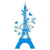 Vinilo Eiffel París Azul Claro Medida M