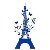 Vinilo Eiffel París Azul Oscuro Medida G