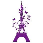 Vinilo Eiffel París Morado Medida M