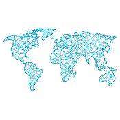 Vinilo Mapamundi  líneas Azul Claro