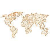 Vinilo Mapamundi Líneas Naranja Medida P