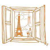 Vinilo Ventana París Naranja Medida G
