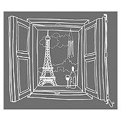 Vinilo Ventana París Blanco Medida P