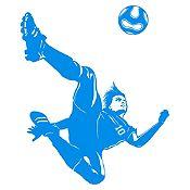 Vinilo Jugador de Fútbol Azul Claro Medida M