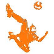 Vinilo Jugador de Fútbol Naranja Medida G