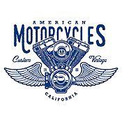 Vinilo American Motorcycles Azul Oscuro Medida M