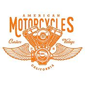 Vinilo American Motorcycles Naranja Medida P