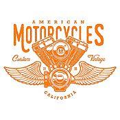 Vinilo American Motorcycles Naranja Medida G
