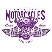 Vinilo American Motorcycles Morado Medida G