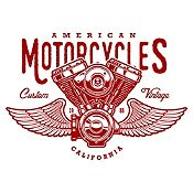 Vinilo American Motorcycles Vinotinto Medida G