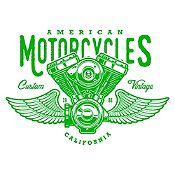 Vinilo American Motorcycles Verde Claro Medida P