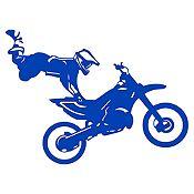 Vinilo Acróbata En Moto Azul Medio Medida P