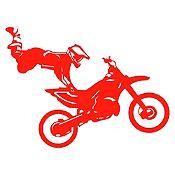 Vinilo Acróbata En Moto Rojo Medida P