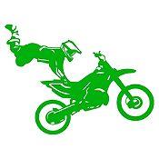 Vinilo Acróbata En Moto Verde Claro Medida G