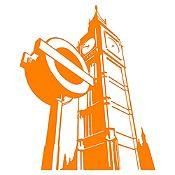 Vinilo Big Ben Naranja Medida M