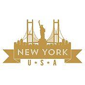 Vinilo New York Dorado Medida P